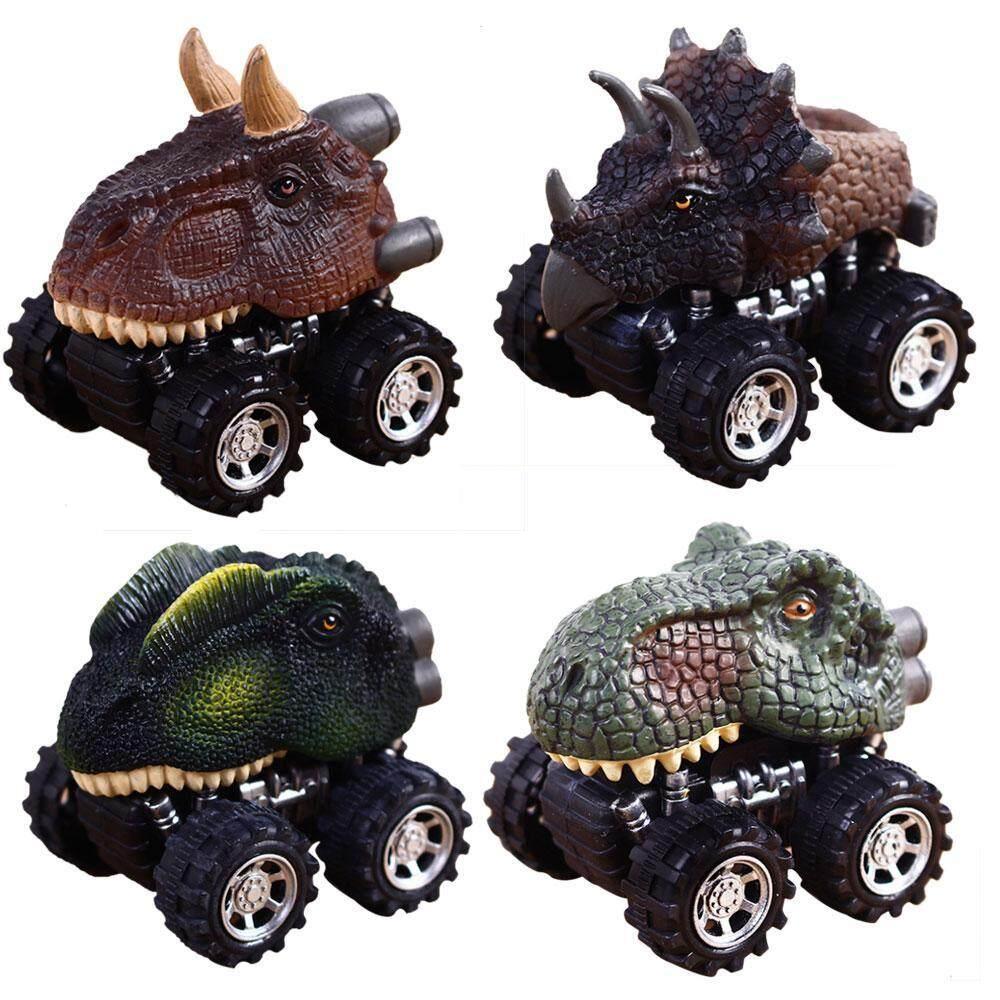 Huaxian Menarik Kembali Mobil 6 Pack Ban Besar Kendaraan Roda Playset Model Dinosaurus Mainan Mini Truk untuk Anak-anak Balita-Internasional