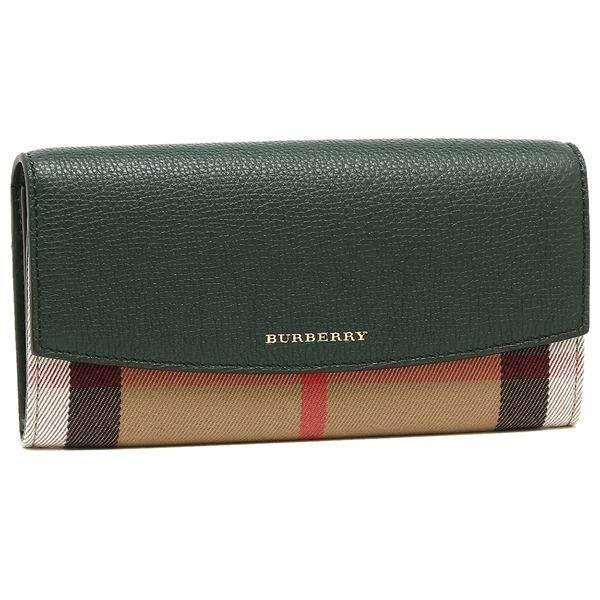 Burberry Leather Women Long Wallet Deep Green 4018805
