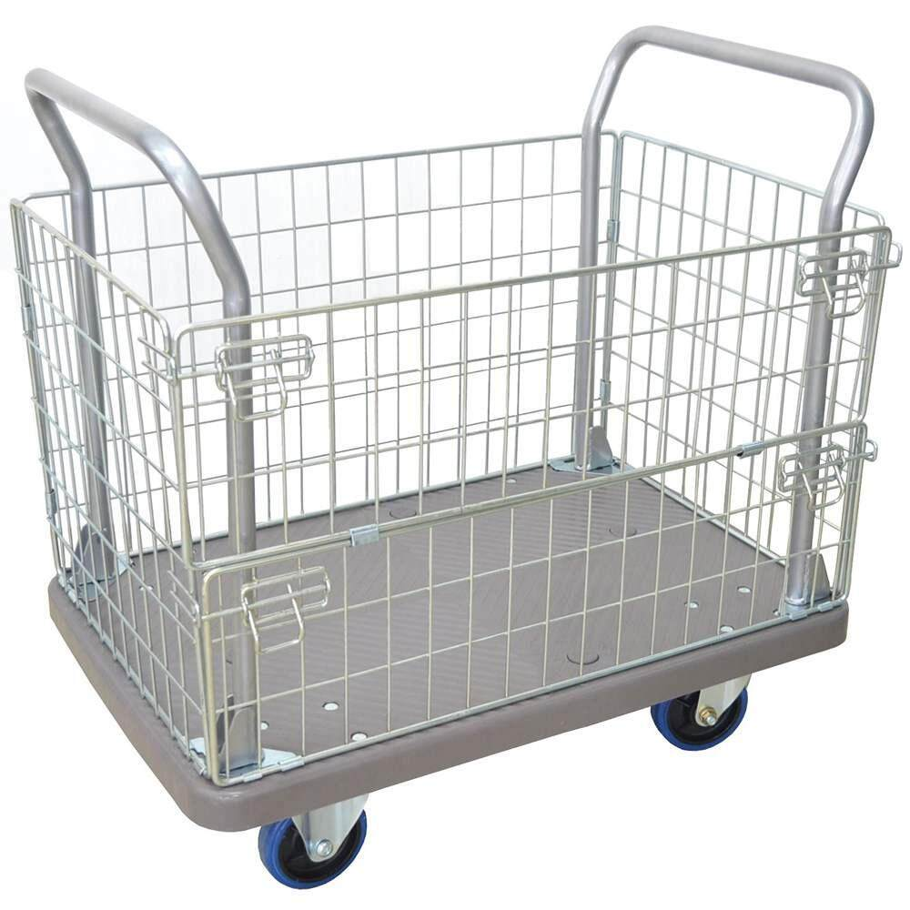 [High Quality] 300Kg PE + Powder Coating Basket Trolley PE-Basket-1010/300 / Iron Full Side Platform Trolley