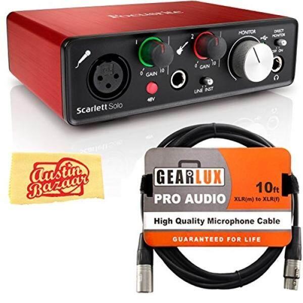 Focusrite Scarlett Solo USB Antarmuka Audio Bundel dengan Kabel XLR Dan Austin Bazaar Pemolesan Kain-Internasional