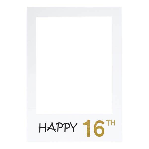 Happy 16th DIY Paper Picture Frame Cutouts Photo Booth Props for Birthday Party