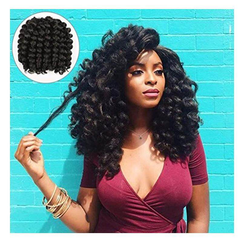 [Alivovo] Alivovo 8 Inch Jumpy Wand Curl Braids Hair 4 Packs/Lot 20 Roots Jamaican Bounce Crochet Twist Braids Sensational African Collection Braiding Hair 110g (Black) [From USA] - intl