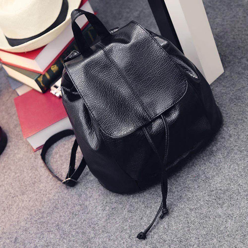 Detail Gambar Fashion All-Match Womens Girls Drawstring Backpack Small Mini PU Leather - intl