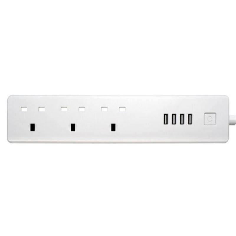 Smart Power Strip Wifi Surge Protector with Alexa 3 AC Outlets and 4 USB Ports Compatible with Alexa(UK Plug)
