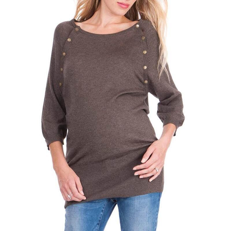 Vonda Ibu Hamil Menyusui Nursing Pakaian Mantel Tombol Di Kedua Sisi Sederhana Nyaman Nursing Kaus Ukuran Lebih Kopi-Internasional