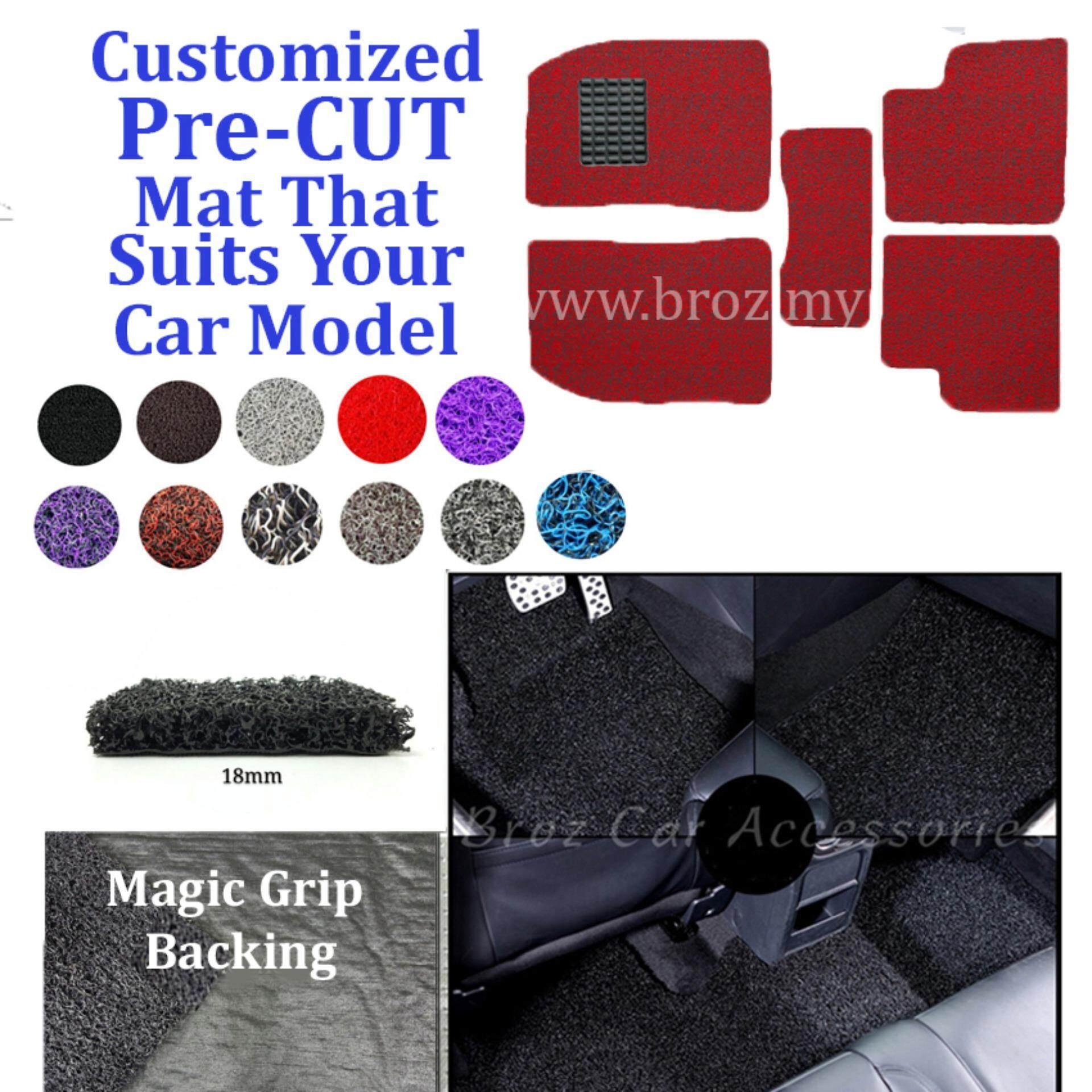 Broz Mercedes E-200 18MM Customized PRE CUT PVC Coil Floor Mat Anti Slip Carpet Magic Grip Backing - Red Black