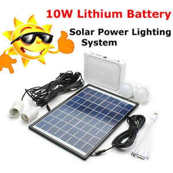 12v 10W Battery Solar Energy Power Generation Lamp Light System Kit - intl Philippines