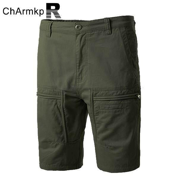 Charmkpr Celana Kargo Katun Kasual Warna Polos Longgar Plus Ukuran Celana Pendek untuk Pria Hijau Tentara-Internasional