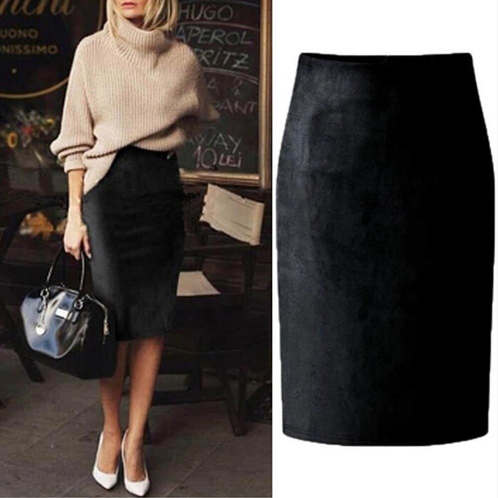 a7b271e0ce1 Women Suede Pencil Skirt Solid Color High Waist Split Zip Bodycon Midi Skirt  - intl
