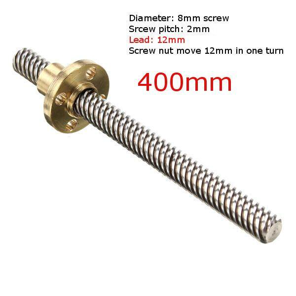 3D Printer T8 12mm 400mm Lead Screw 8mm Thread With Copper Nut For Stepper Motor - intl
