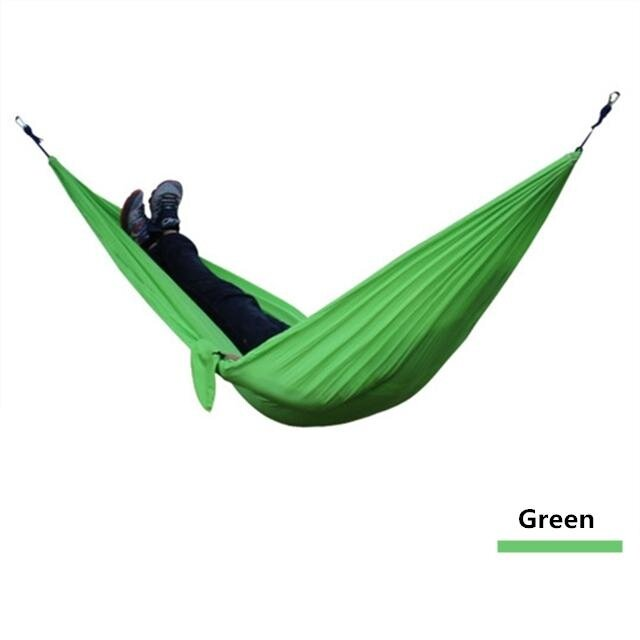 Outdoor Camping Hiking Double Hammock Sleeping Gear Parachute Green By Glimmer.