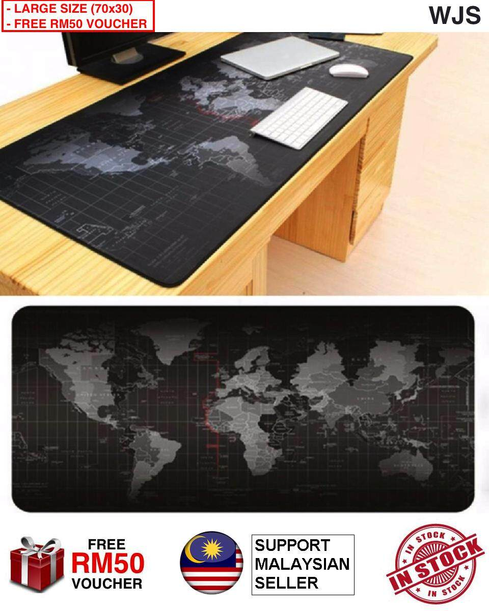 (FREE RM50 VOUCHER) WJS Large Gaming Mouse Pad World Map 70 x 30CM Computer Rubber Pro Keyboard Mats Genuine Rubber Office Mouse Pad Mousepad (Black)