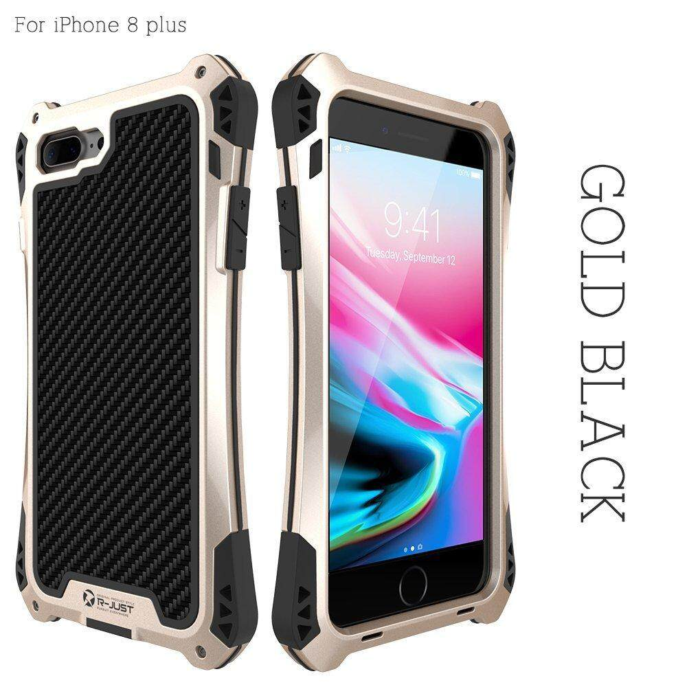Price Compare R Just Waterproof Shock Proof Dirt Proof Gorilla Glass Aluminum Rubber Black Metal Case Cover Protective Armor Defender For Iphone 8 Plus 5 5Inch Intl