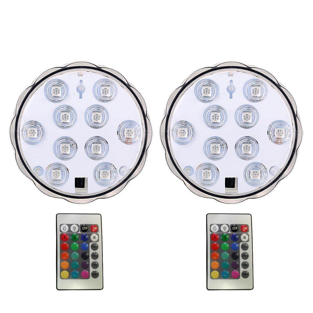 Oanda 2 Pcs Lampu Renang Submarine Lampu LED, submersible Tea Lights Anti-Air LED Lilin Lampu dengan Jarak Jauh IR 10-LED RGB untuk Vase Base, taman, Pesta, Natal-Internasional