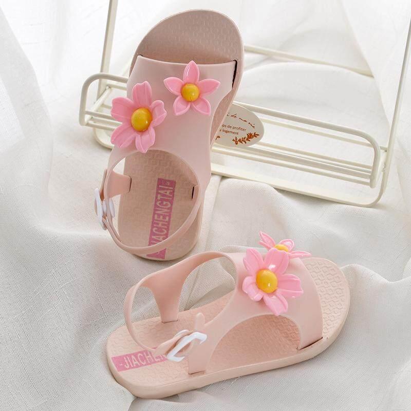 Modis Anak Sandal Musim Panas Baru Bunga Matahari Datar Wanita Non-slip Putri Sepatu-Internasional