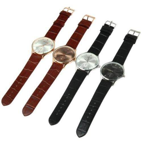 WEIQIN W23041 MALE ULTRATHIN ANALOG QUARTZ WATCH LEATHER BAND SMALL SEPARATED SECOND DIAL (BLACK SILVER WHITE)