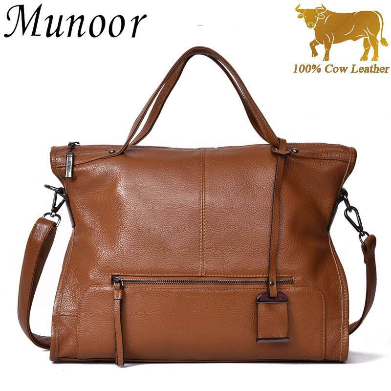 Munoor High Quality Top Grain 100% Genuine Cow Leather Women Top Handbags Shoulder Bags - intl