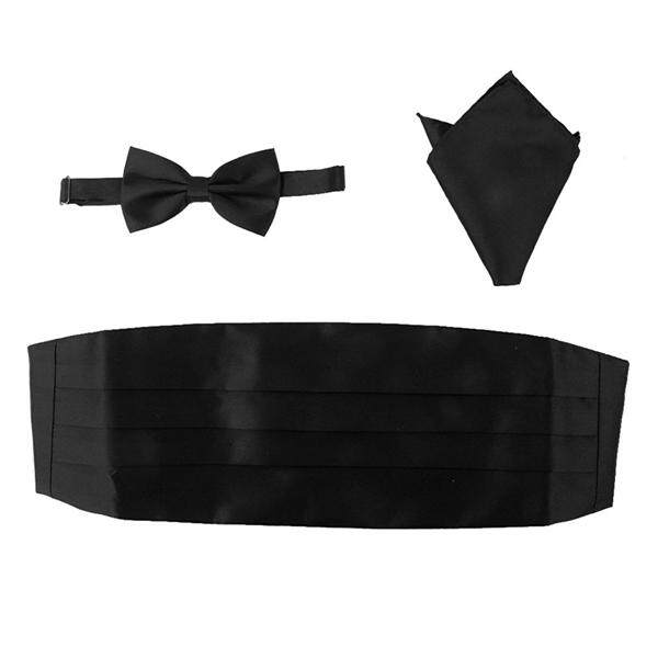 3pcs Men's Satin Bow Tie Cummerbund Hanky Handkerchief (Black)