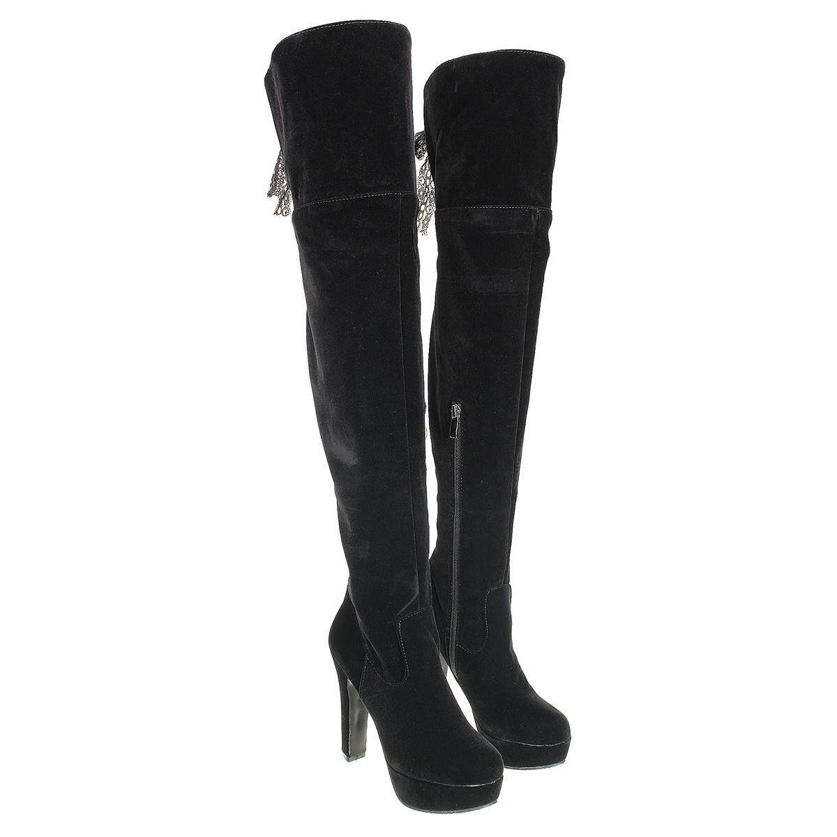 Womens Zipper Over The Knee Thigh Boots Block High heel Round toe Shoes  New YT