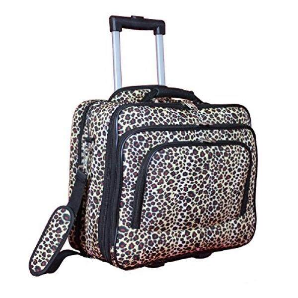 World Traveler Womens Fashion Print Rolling 17 Case Laptop Bag, Leopard, One Size - intl