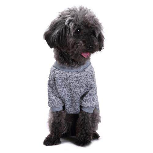PET DOG CLASSIC SWEATER COAT FLEECE KNITWEAR CLOTHES (GRAY)