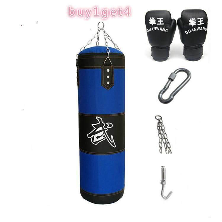 120 Cm Tinju Berat Punching Latihan Tas (Kosong) Kasual Latihan Kebugaran PASIR Tas Biru