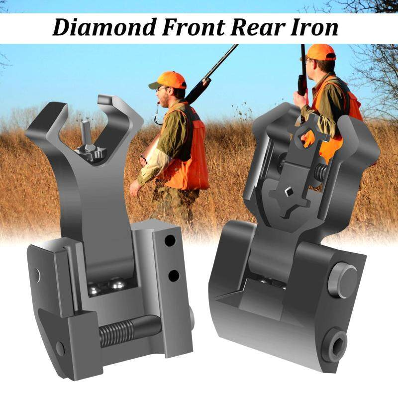 A Pair Premium Tactical Diamond Aperture Flip Up Front Rear Iron Sights Set