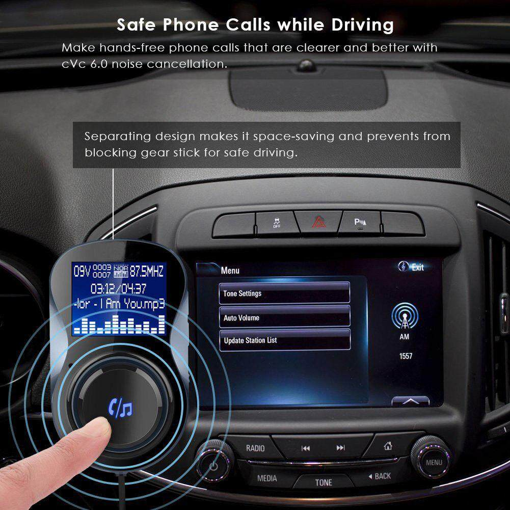 Hossen Không Dây Trong Bộ Phát FM Bluetooth xe hơi Mp3 Đài Phát Thanh Adapter Xe Bộ Sạc USB