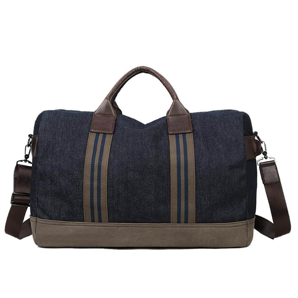 nonof Mens Fashion Portable High Capacity Travel Bags Canvas Handbag Shoulder Bag,Dark Blue