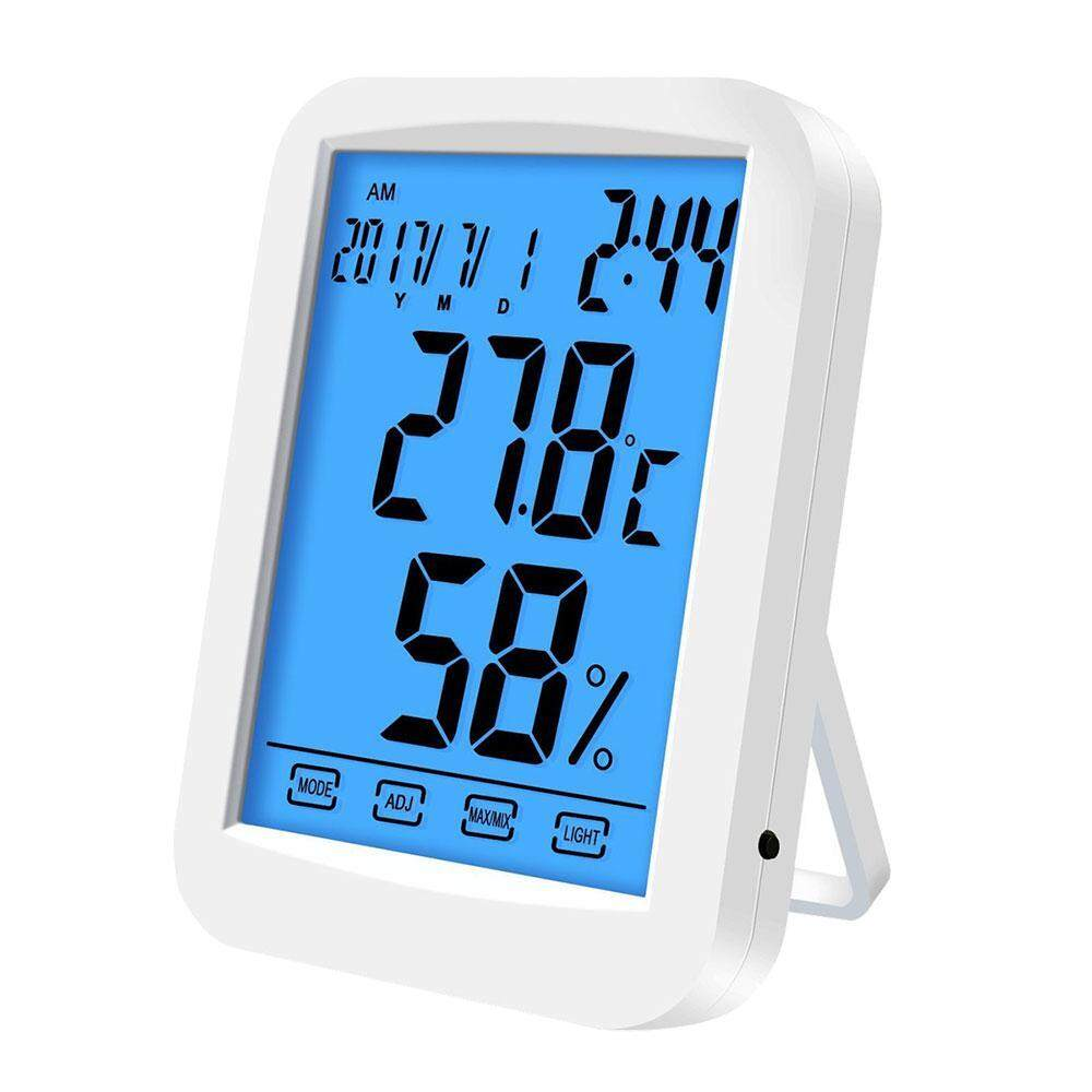 WAWNHENG Digital Hygrometer Thermometer, Indoor Thermometer Humidity Gauge Touchscreen, Alarm Clock, Backlight, With Table Standing, Wall Hanging