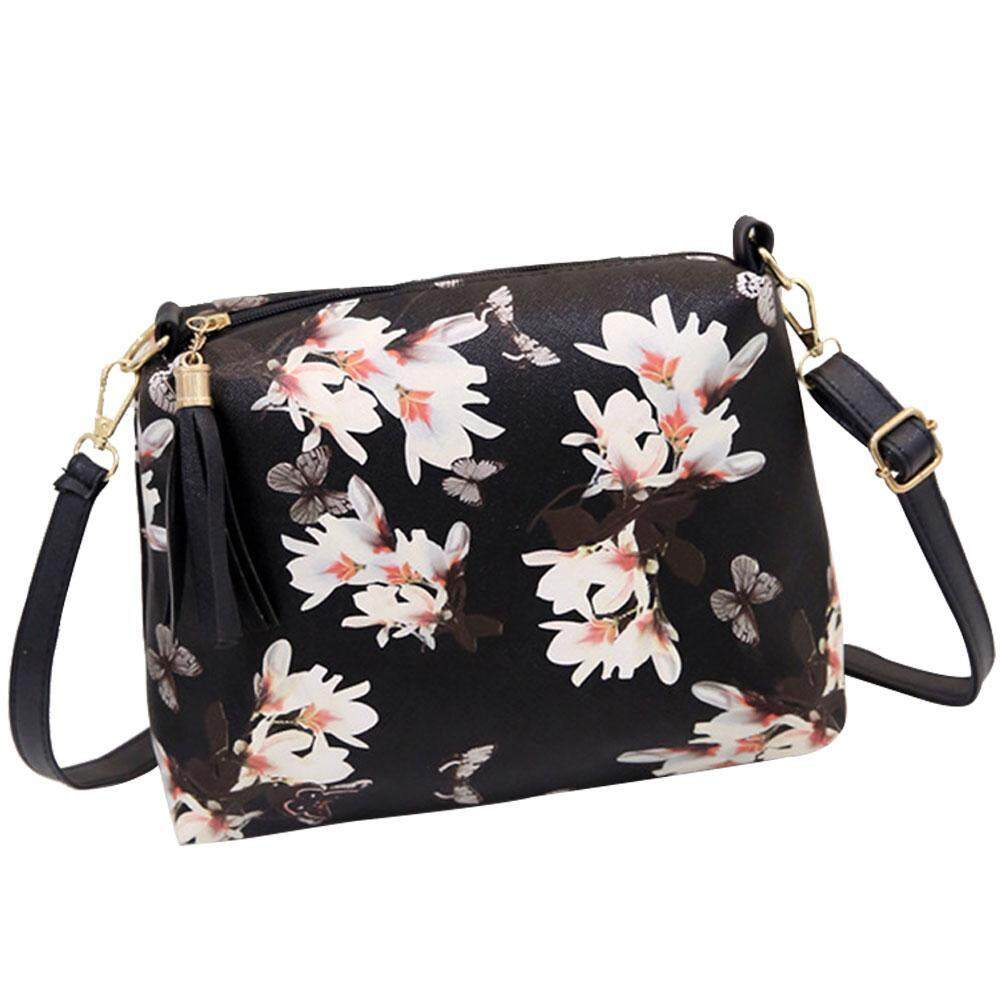 chechang New Fashion Narcissus Floral Butterfly Printing Shoulder Bags Leather Women Fashion Tassel Handbags Messenger Bags