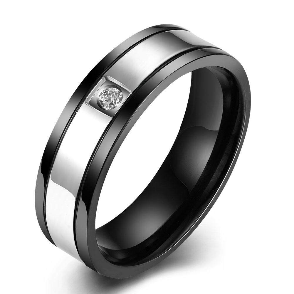 Kemstone Black Color Stainless Steel Ring Paved Silver Line Zircon Finger Rings Jewelry Fashion Men Ring By Kemstone Jewelry.