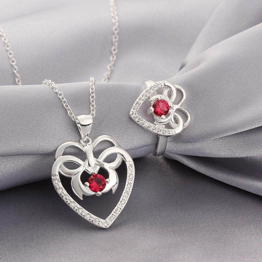 Free Shipping 2015 new style 925 silver plated jewelry sets for sale (Red)