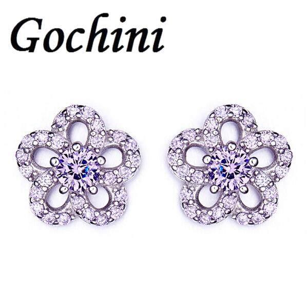 Ms. Gochini fashion plum earrings earrings earrings earrings female short paragraph Ding popular American Imitation Zircon Crystal personality fashion accessories jewelry gift glory(Light purple ) - intl