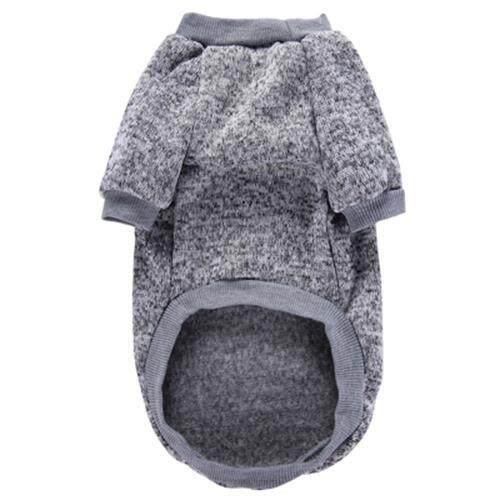 PET DOG CLASSIC SWEATER COAT FLEECE KNITWEAR CLOTHES (GRAY)
