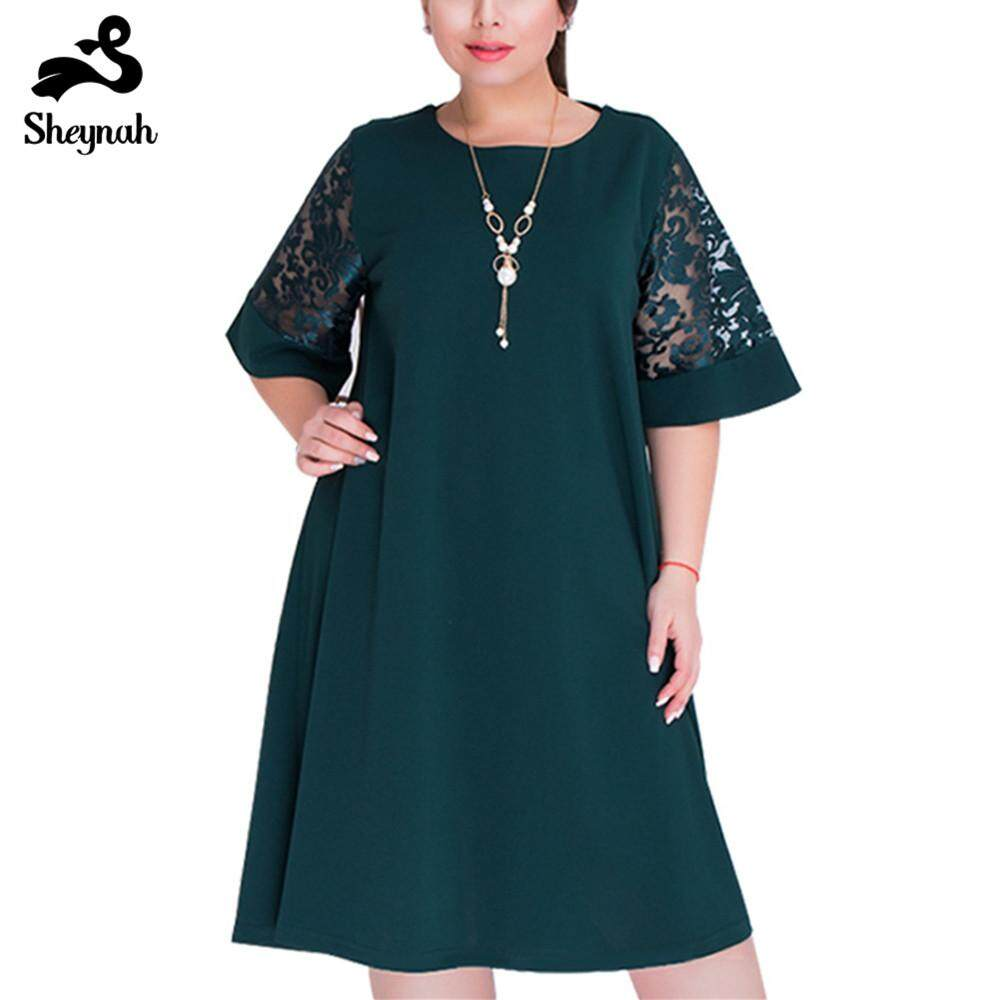 Woman 5XL 6XL Plus Size Dress Large Big Size Office Ladies Fashion Elegant Loose Dresses Lace Spliced Hollow Out Party Clothing