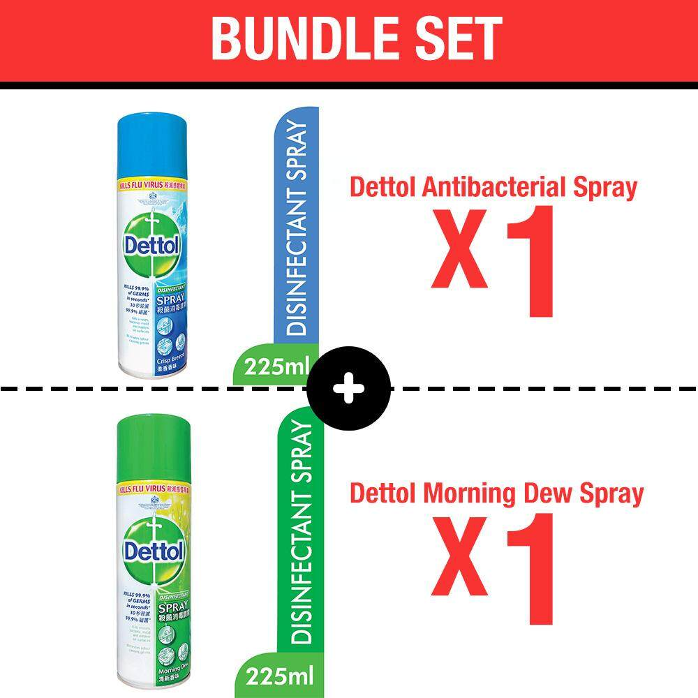 [Bundle] Dettol Antibacterial Spray Crisp Breeze 225ml X 1 pcs + Dettol Morning Dew Spray Cleaner 225ml X 1 pcs