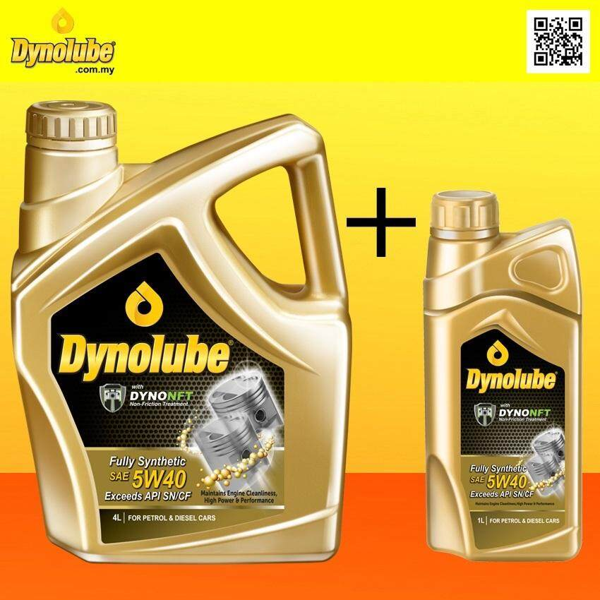 (Combo Set) Dynolube 5W40 with DYNONFT Fully Synthetic Engine Oil SN/CF [ 4Liter + 1Liter ]