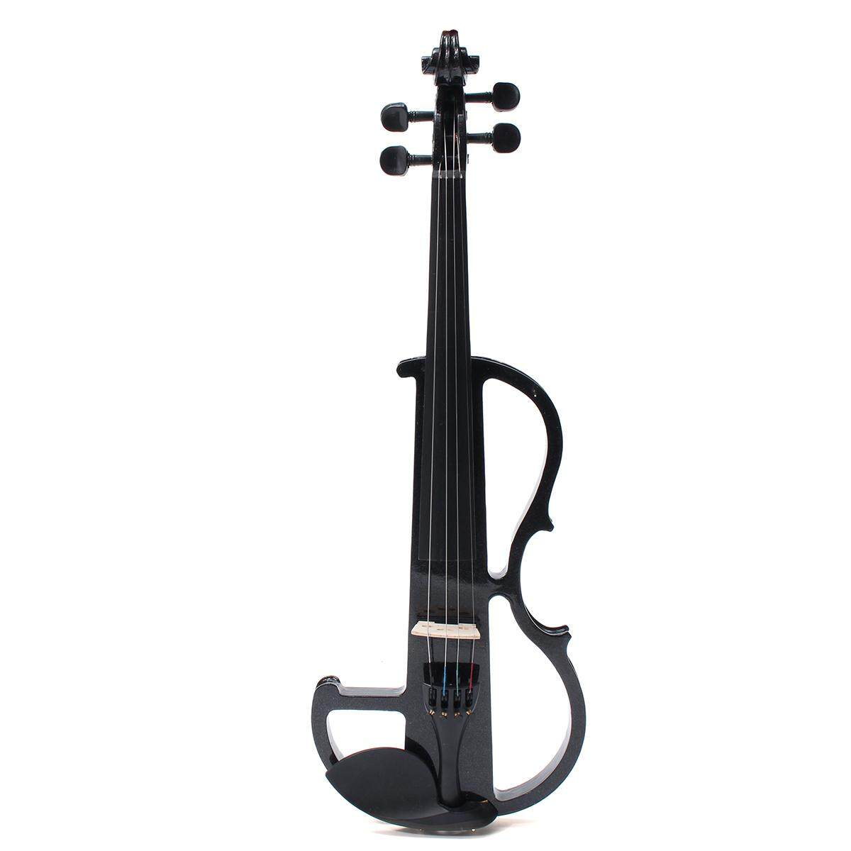 Black Electric Violin 4/4 Full Size Fiddle Case +Bow +Headphone +Cable