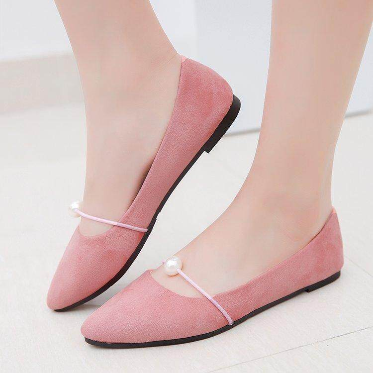 Women's shoes Korean black casual suede flat shoes .