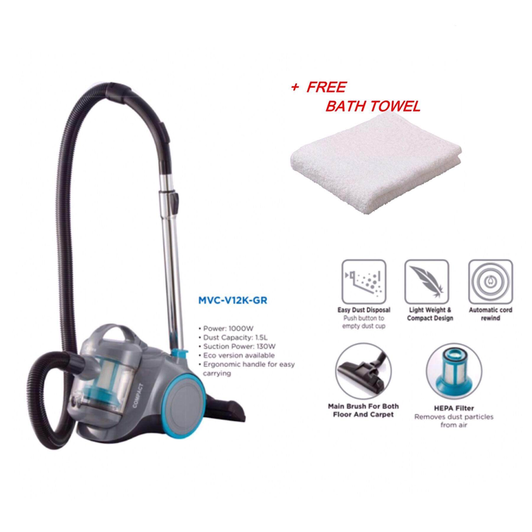 Midea MVC-V12K Bagless Vacuum Cleaner with HEPA Filter(1000W) + TOWEL