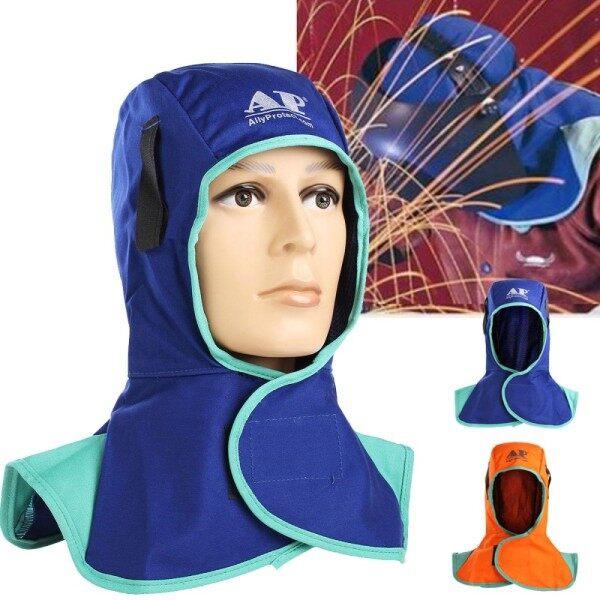 2 X Mũ Bảo Hiểm Chống Cháy, Mũ Bảo Vệ Cổ Hàn, Nắp Chụp Đầu Thợ Hàn Màu Xanh