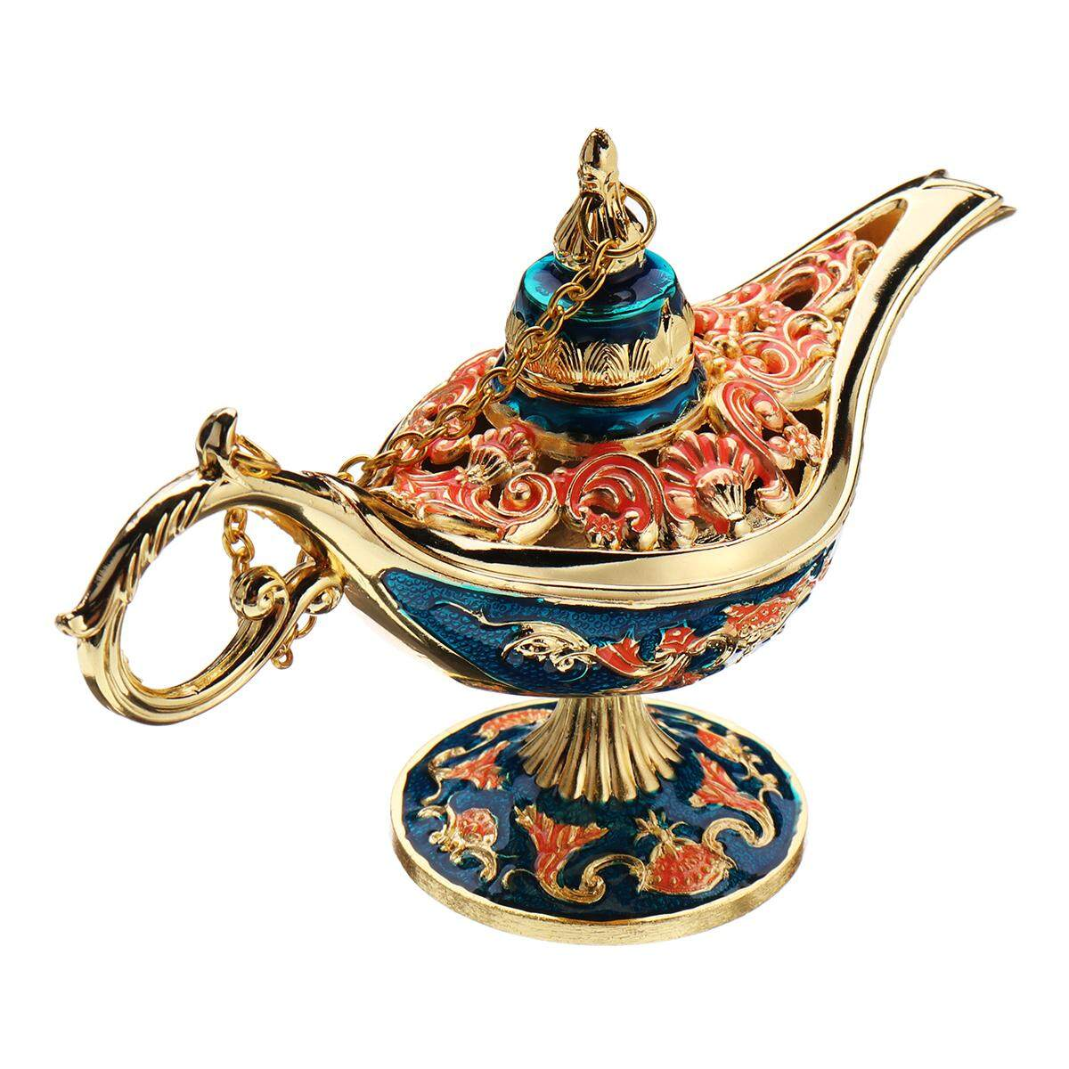Colorful Metal Aladdin Magic Lamp Retro Wishing Lamp Aladdin Genie Lamp Incense Burner Home Decor Gift Child Toy#Blue gold - intl