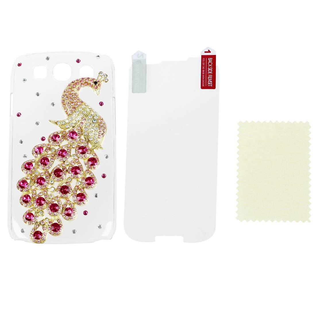Deluxe Buatan Tangan Jelas Berwarna Merah Muda Merak BLING Berlian Imitasi Kristal Wadah Kulit Penutup untuk Samsung I9300 Galaxy S3 I9300, I747, l710, T999, I535 (AT & T, T Mobile, Sprint, Verizon AS s. seluler) dengan Pelindung Layar-Intl