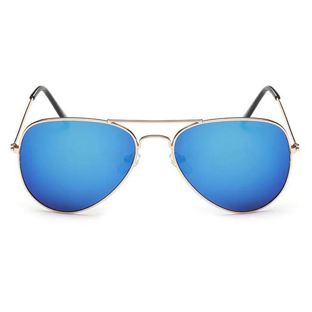 Dsstyles Retro Warna-warni Penerbang Kacamata Hitam untuk Pria Wanita Mirrored Matahari Kacamata Shades dengan UV400 Lensa Warna: gold Bingkai dan Biru Keperakan Spesifikasi: XVI/1/3025-Internasional
