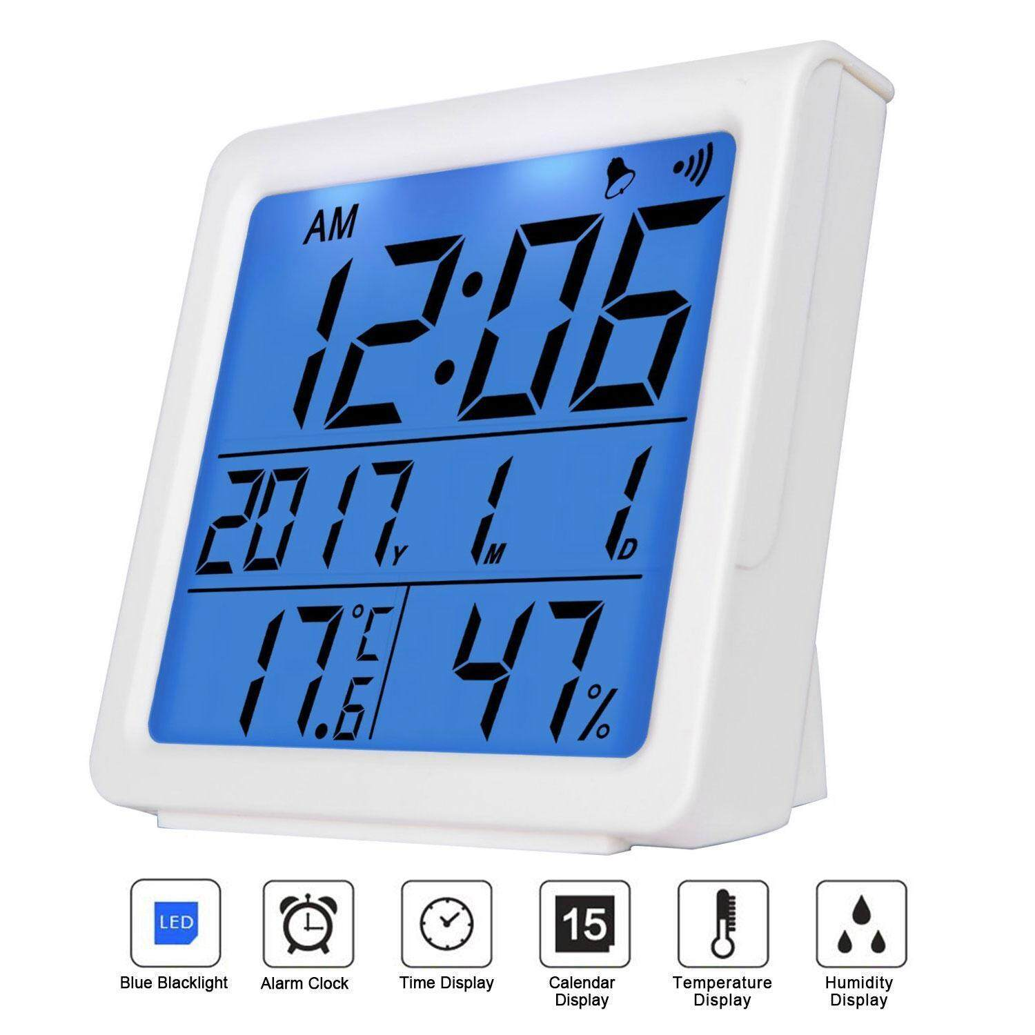 Rodeal Digital Hygrometer Humidity Meters Wireless Temperature Monitor Thermometer Alarm Clock Indoor With Backlight, Table Standing ,℃/℉ Switch,for Home Office Baby Room - White - intl