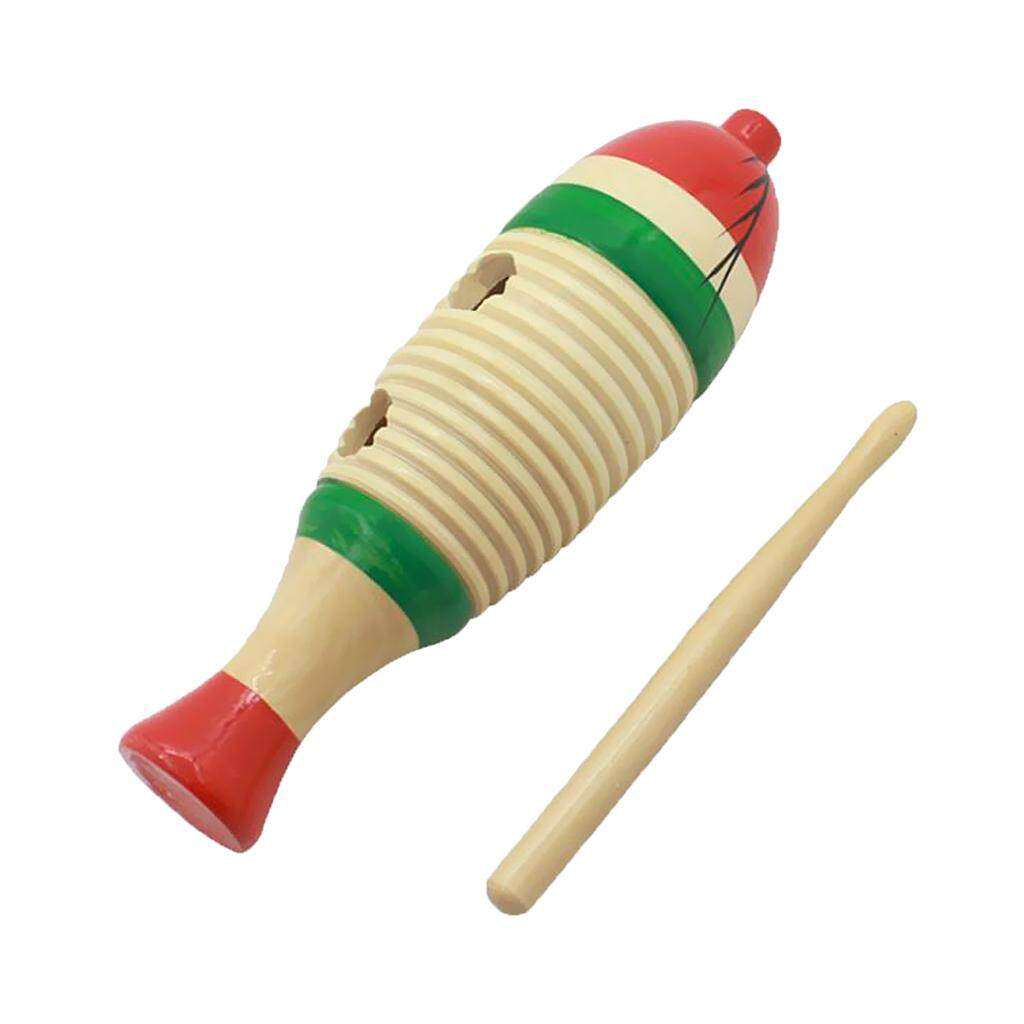 Miracle Shining Wooden Fish-Shaped Guiro Hand Percussion for Kid Musical Toys - intl