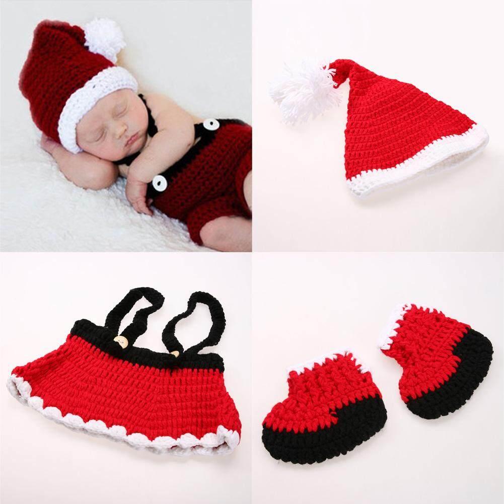 dbe28de420b 3pcs set Newborn Photography Props Christmas Baby Santa Claus Hat + Pants  Shoes Red Crochet