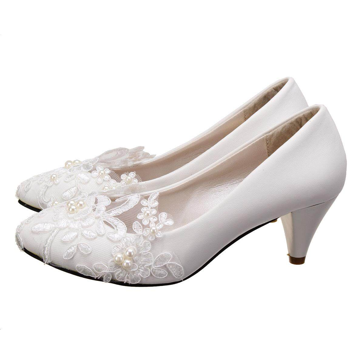 3cf05046abbd Women Pearl Flower Lace Wedding Shoes Prom Bridal Bridesmaid Flat Low Heel  Shoes 5CM