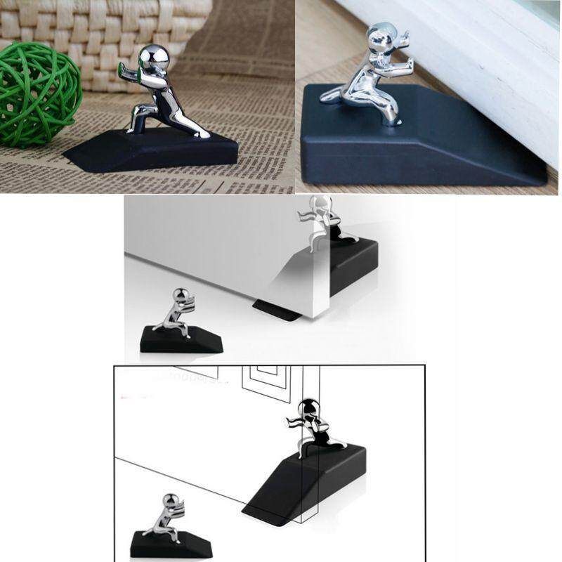 Fortunet Decorative Door Stopper,Premium Non-Skid Rubber Door Stops,Silver+Black - intl